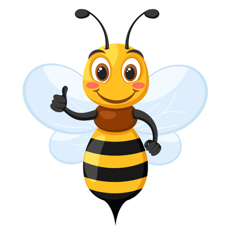 Bee smiles and shows like on a white. Character Illustration