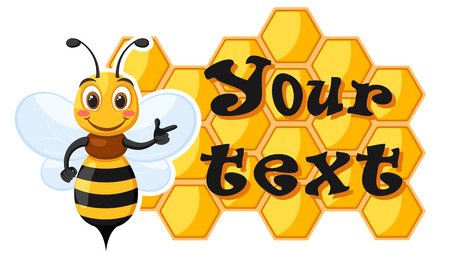 Bee shows his hand on the honey wax on a white background. Place for text.