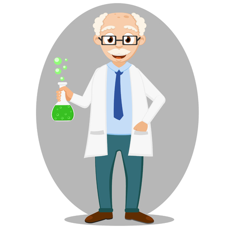 Scientist is holding a flask with a chemical reaction. The character of science.