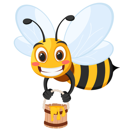 Bee flies with a bucket of honey and smiles on a white. Character Vector Illustratie