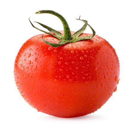 Ripe tomato in water drops close up on a white. Isolated. Stock Photo