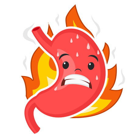 Stomach grimaces from the pain of heartburn, on a white background. Character Ilustracja