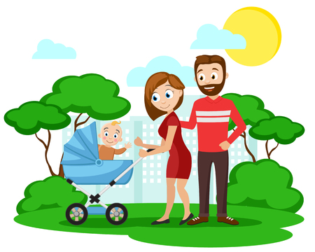 Young parents with a small child in a wheelchair walking in the park. Characters