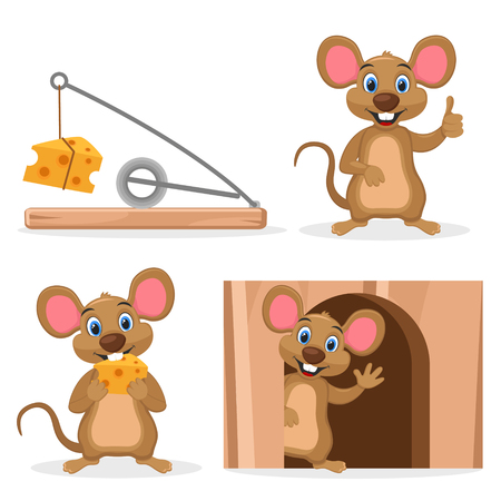 Set mouse with cheese in a hole and mousetrap on a white background. Character.