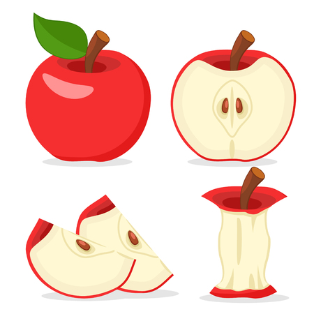 Set of red Apple, half, slices and eaten on a white.