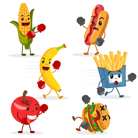 Fruits fight with fast food on a white background. Healthy food, characters.