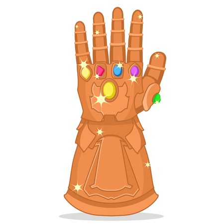 Glove with the stones of strength, glitters on a white background. Superhero.