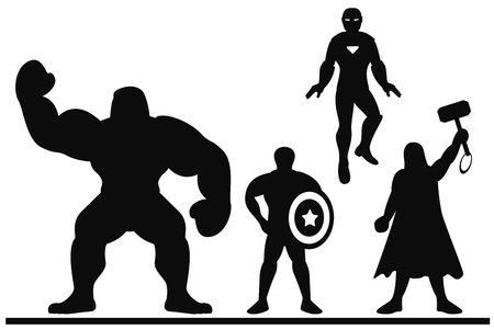 Silhouette of a team of superheroes on a white background. Illustration