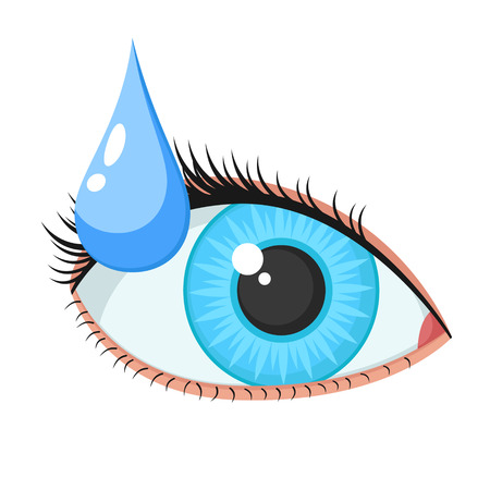 Female eye and drop on a white background. Medicinal drops.