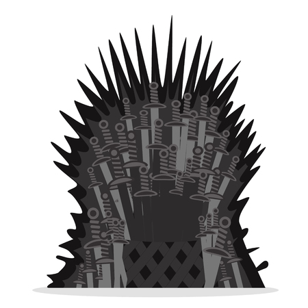 Throne of swords on a white background. Illustration
