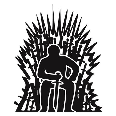 Silhouette of a warrior on a throne of swords on a white.
