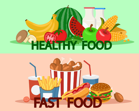 Fast food and healthy food fruits and vegetables.