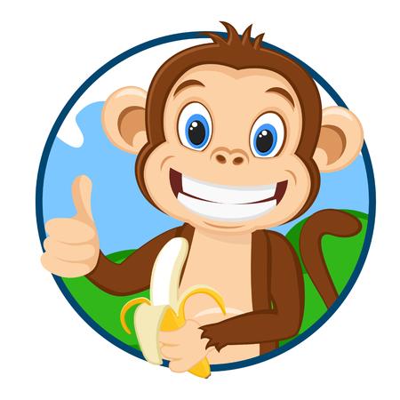 Monkey holds a ripe banana and shows a like
