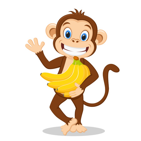 Monkey holding of ripe bananas and waving his hand on a white background. 写真素材
