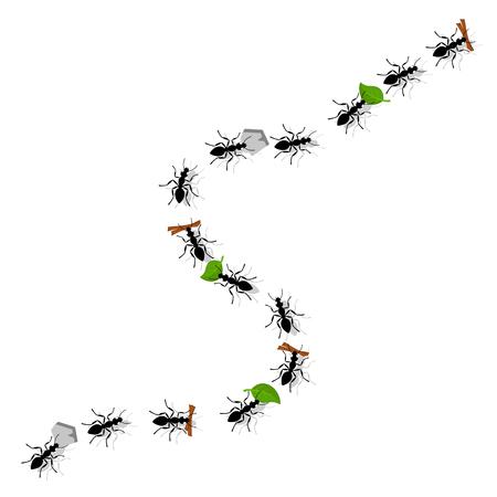 Mrówki przenoszą liście, kamyki i gałązki na białym. Forma blatu.