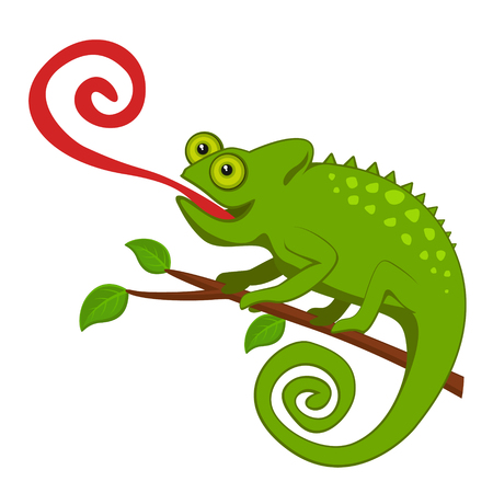 Chameleon with a long tongue sitting on a branch. Banco de Imagens