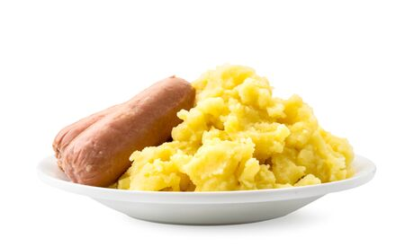 Mashed potatoes with sausages in a plate on a white background. Isolated
