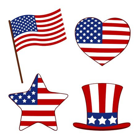 Set heart, a flag, a hat and a star painted in the American flag. Independence day USA