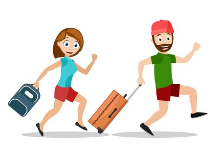 A man and a woman run with suitcases on vacation on a white background.