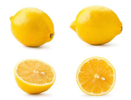 Metta il limone e la metà su un fondo bianco, isolato. Archivio Fotografico