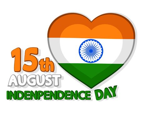 Heart painted in the flag of India and a congratulatory text on a white. Independence day