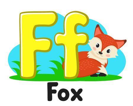 Alphabet with animals, a Fox with a fluffy tail the letter Ff on a white. Preschool education. Stock fotó