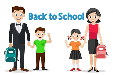 Parents take their children to school, characters on a white. Back to school.