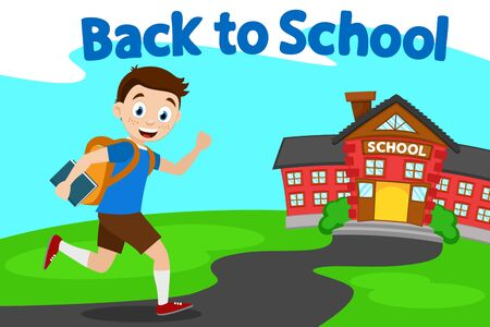 Schoolboy smiles and runs down path to school. Back to school