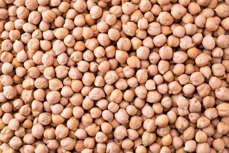 Chickpeas close-up, background. The view of top.