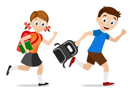 Schoolchild boy and girl running with briefcases to school.Characters on a white. Back to school.
