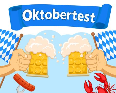 Hands with glasses of beer clink against a blue background. Oktoberfest Banco de Imagens