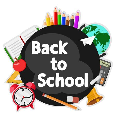 School supplies around black Board on a white , space for text. Back to school. Banco de Imagens - 129032040