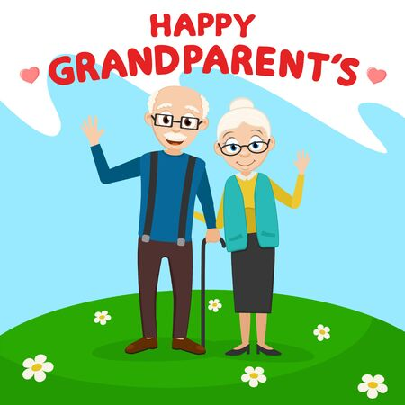 Grandparents waving his arms on a green meadow. Grandparents day