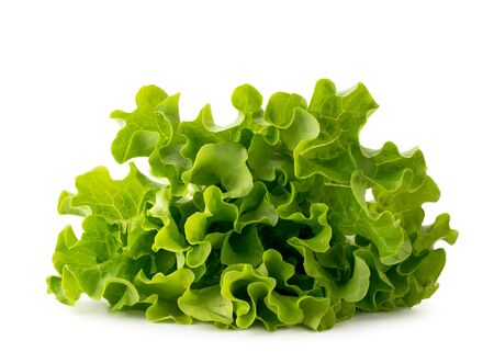 Pile of green lettuce leaves on a white background. Isolated Banco de Imagens - 129032068