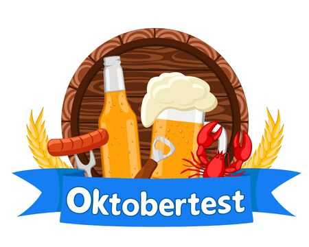 A barrel of beer,glass and bottle behind a blue ribbon on a white background. Oktoberfest.
