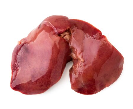 Raw chicken liver on a white. The view of the top. Banco de Imagens