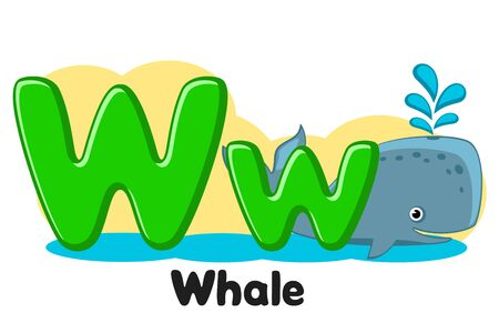 Alphabet kit releases water, the letter Ww on a white. Preschool education. Banco de Imagens - 129551961