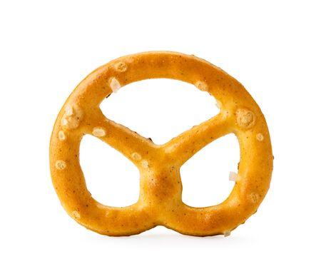 Mini pretzel salt closeup on a white background. Isolated.