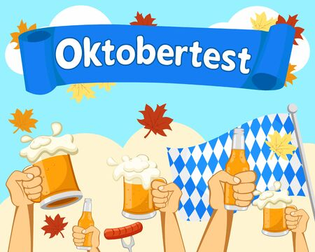 Hands with glasses and bottles of beer against the autumn sky. Oktoberfest. Banco de Imagens