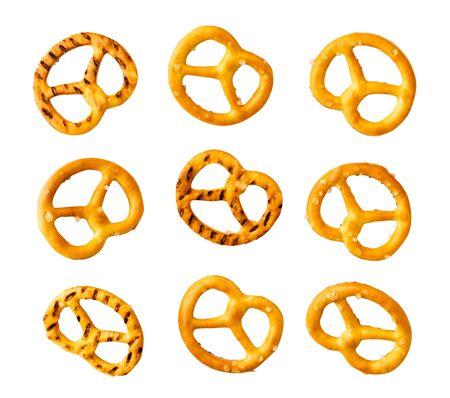 Set of mini pretzels isolated on a white.
