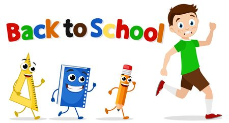 Schoolboy runs away from a pencil, a book, and a ruler on a white. Back to school. Stock Illustratie