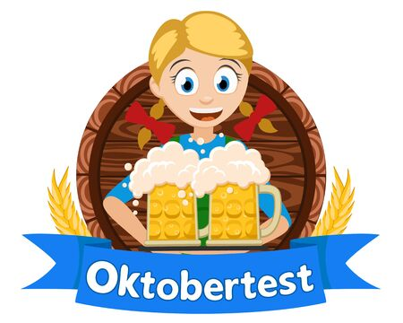 Girl holding two glass of beer on a background of wooden barrel. Oktoberfest Banco de Imagens
