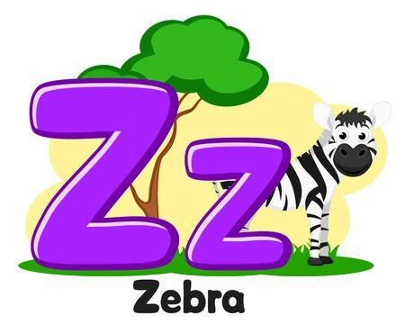 Alphabet Zebra horse, letter Zz on a white. Preschool education. Banco de Imagens - 129552616