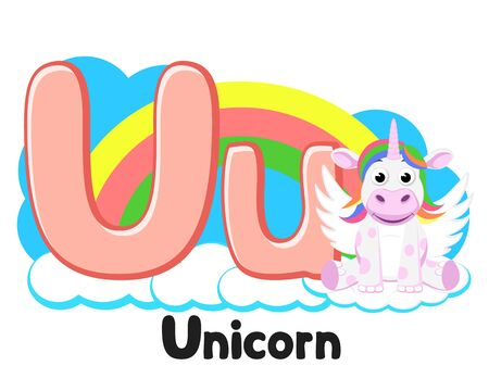 Alphabet unicorn sits on a cloud letter Uu on a white. Preschool education.