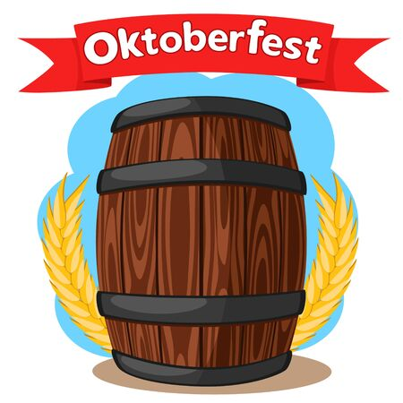 Wooden barrel of beer with wheat ears on a white background. Oktoberfest Banco de Imagens