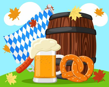 Wooden barrel with a glass of beer and pretzel in nature. Oktoberfest