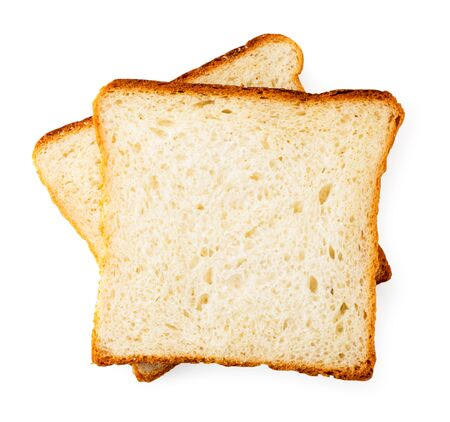 Two slices of toast bread on a white. The view of the top. Banco de Imagens - 129552639