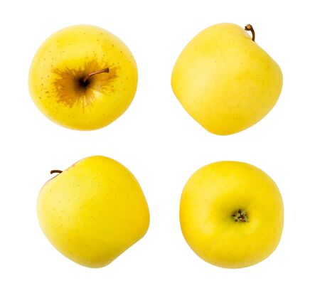 Set of yellow apples isolated on a white. Banco de Imagens - 129552645