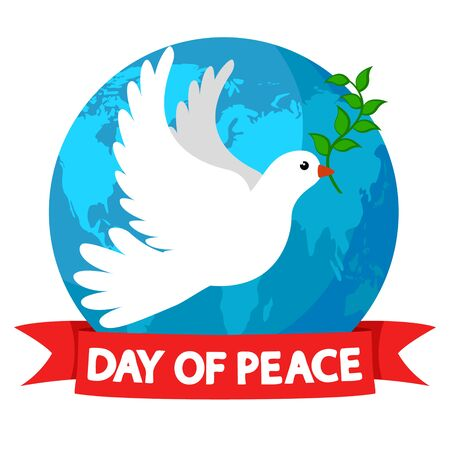Pigeon with olive twig on the background of the planet earth, on a white. International peace day Banco de Imagens