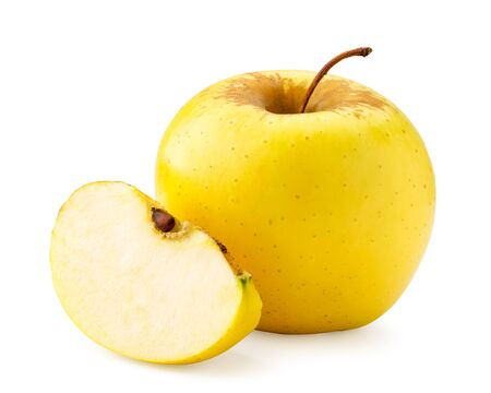 Yellow Apple and slice on a white background. Isolated Banco de Imagens - 129552638